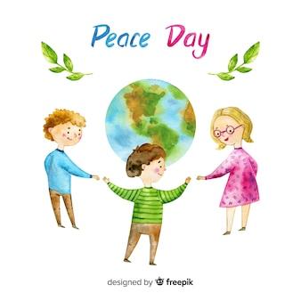 Fond de jour de paix aquarelle avec des enfants