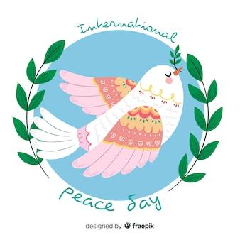 Fond de jour de paix avec la colombe blanche