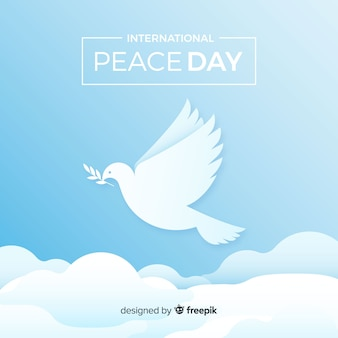 Fond de jour de paix élégant avec colombe blanche