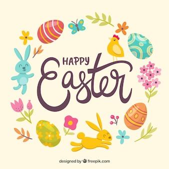 Fond de jour de pâques joyeux dessinés à la main