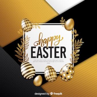 Fond de jour de pâques joyeux doré