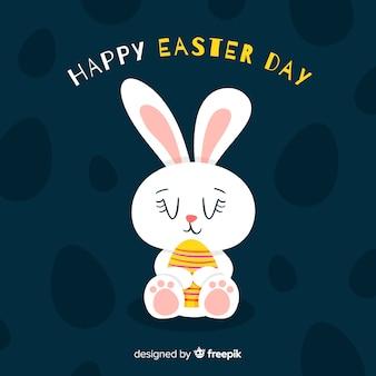 Fond de jour de pâques lapin dessiné à la main