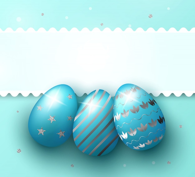 Fond de jour de pâques avec des oeufs bleus 3d réalistes