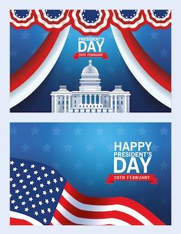 Fond de jour des présidents heureux avec usa capitol building et drapeau