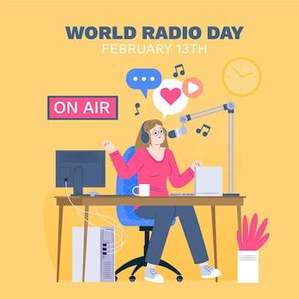 Fond de jour de radio monde design plat avec femme
