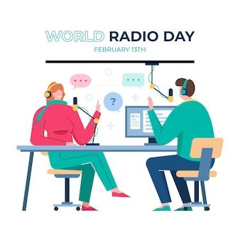 Fond de jour de la radio mondiale design plat avec des présentateurs