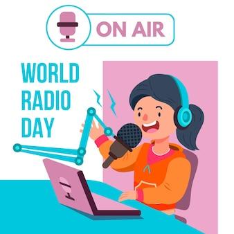 Fond de jour de radio mondiale dessiné main plat avec personnage