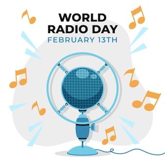 Fond de jour de la radio mondiale dessiné main plat