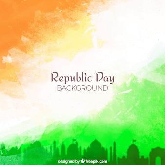Fond de jour de la république avec aquarelle