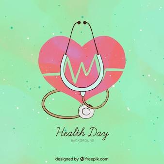 Fond de jour de santé avec coeur dessiné à la main