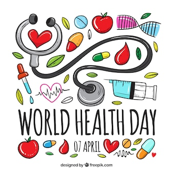 Fond de jour de la santé dans le style dessiné à la main