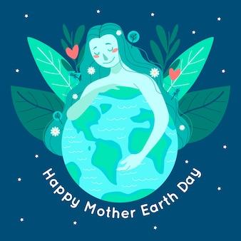 Fond de jour de la terre mère design plat