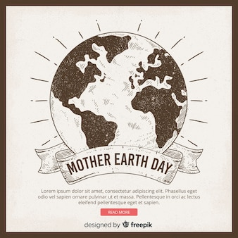 Fond de jour de terre mère dessiné à la main
