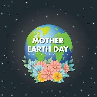 Fond de jour de la terre de la mère avec la fleur