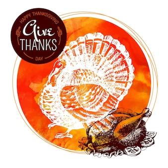 Fond de jour de thanksgiving. affiche typographique. croquis dessinés à la main et illustration vectorielle aquarelle