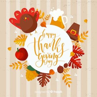Fond de jour de thanksgiving dessiné main coloré