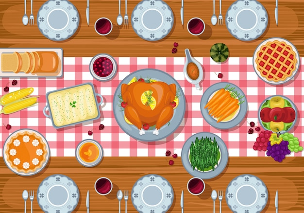 Fond de jour de thanksgiving avec dîner de fête traditionnelle sur une table en bois
