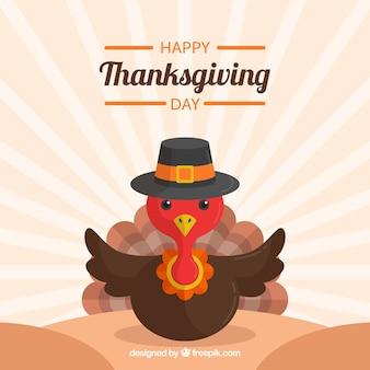 Fond de jour de thanksgiving rétro avec belle dinde