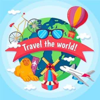 Fond de jour de tourisme dessiné à la main