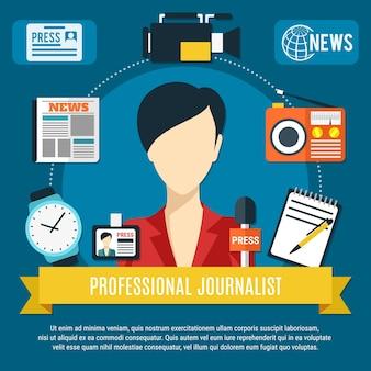 Fond de journaliste professionnel avec personnage de présentatrice de nouvelles icônes plat de récepteur radio microphone presse