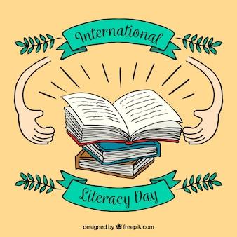 Fond de la journée d'alphabétisation avec des dessins