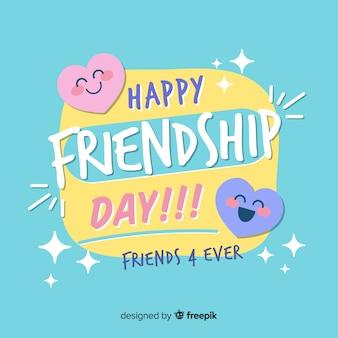 Fond de journée amitié design plat