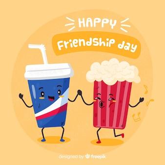 Fond de journée de l'amitié dessiné à la main