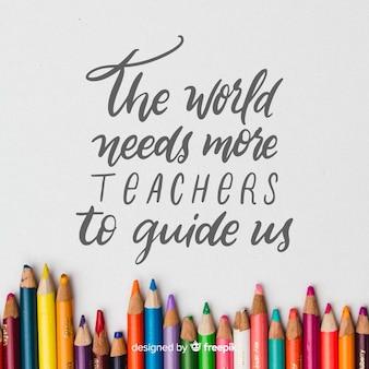 Fond de journée du professeur du monde dessiné à la main