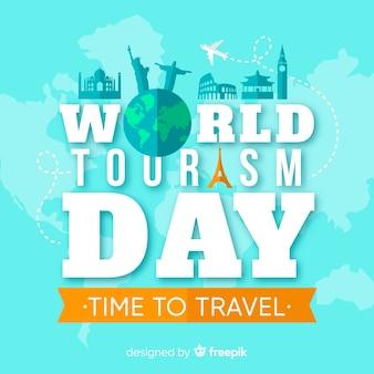 Fond de la journée du tourisme avec monde et monuments au design plat