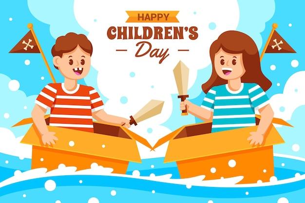 Fond de journée des enfants du monde plat