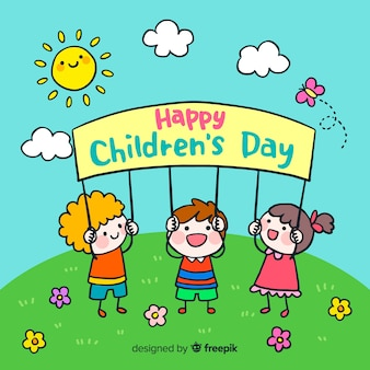 Fond de la journée des enfants avec soleil heureux
