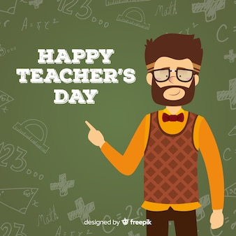Fond de la journée de l'enseignant du monde plat
