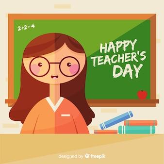 Fond de journée de l'enseignant avec l'enseignante et tableau noir en design plat