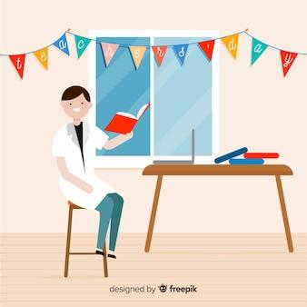 Fond de la journée des enseignants du monde créatif