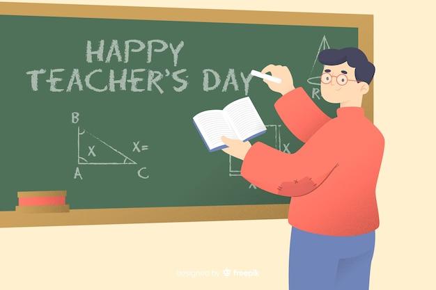 Fond de la journée des enseignants du monde plat