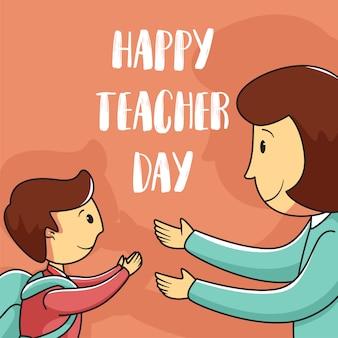 Fond de la journée des enseignants heureux