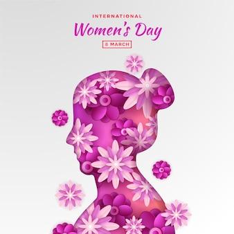 Fond de la journée de la femme dans le style du papier