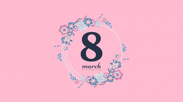 Fond de la journée de la femme avec illustration numéro 8 et branches de fleurs et feuilles.