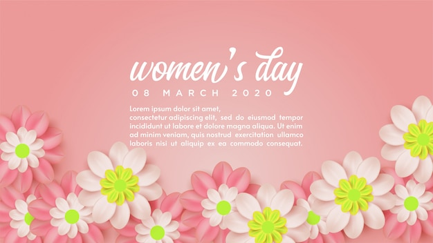Fond de la journée de la femme avec des illustrations de fleurs et de mots blancs.