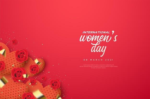 Fond de la journée des femmes avec une boîte-cadeau d'amour.