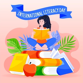 Fond de journée internationale de l'alphabétisation dessiné à la main avec une fille lisant