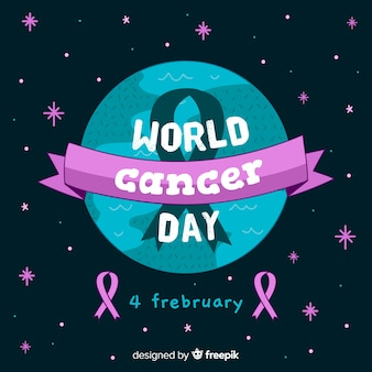 Fond de journée mondiale du cancer dessiné à la main