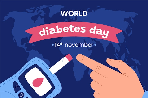 Fond de journée mondiale du diabète plat dessiné à la main