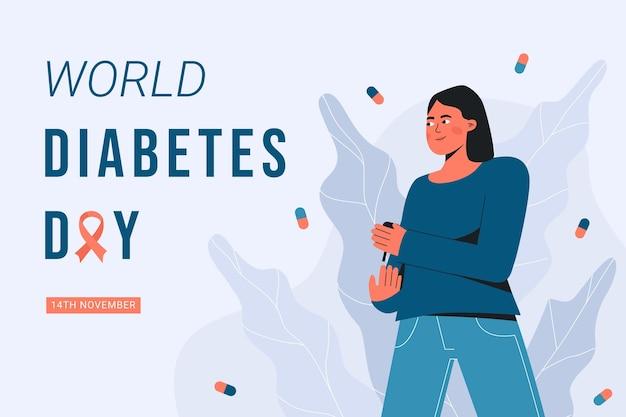 Fond de journée mondiale du diabète plat