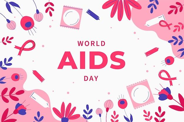 Fond de journée mondiale du sida plat dessiné à la main