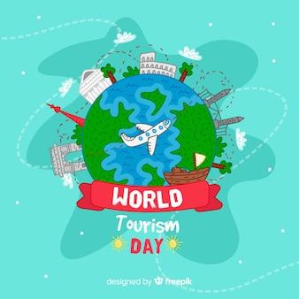 Fond de la journée mondiale du tourisme dessinés à la main