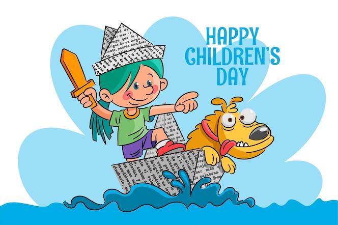 Fond de la journée mondiale des enfants dessinés à la main
