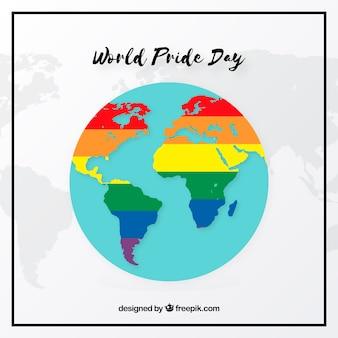 Fond de la journée mondiale de la fierté avec une carte colorée