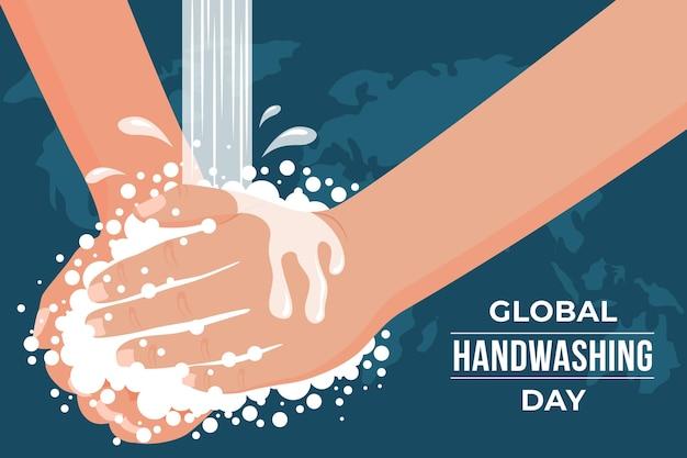 Fond de journée mondiale de lavage des mains plat dessiné à la main