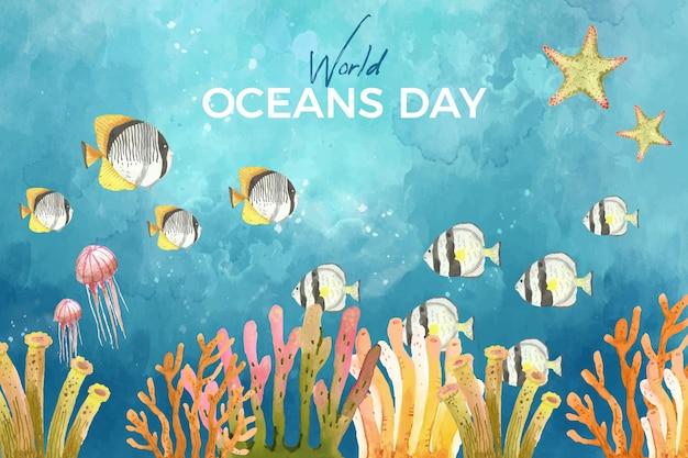 Fond de la journée mondiale des océans aquarelle
